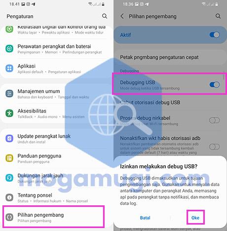 Aktifkan Debugging USB Android