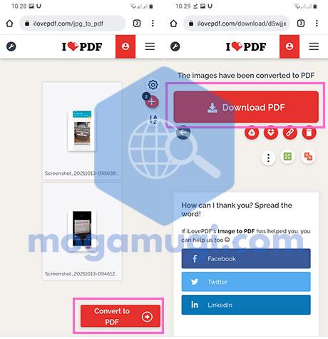 Pilih Convert to PDF dan Download